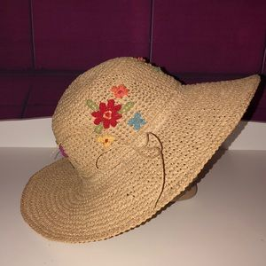 CAPPELLI Straw Floppy embroidered floral adult hat